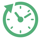 Clock icon that is created with an arrow around it